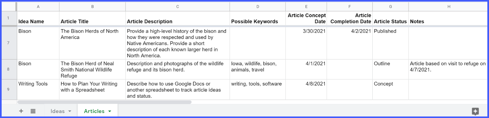 Articles tracking worksheet.