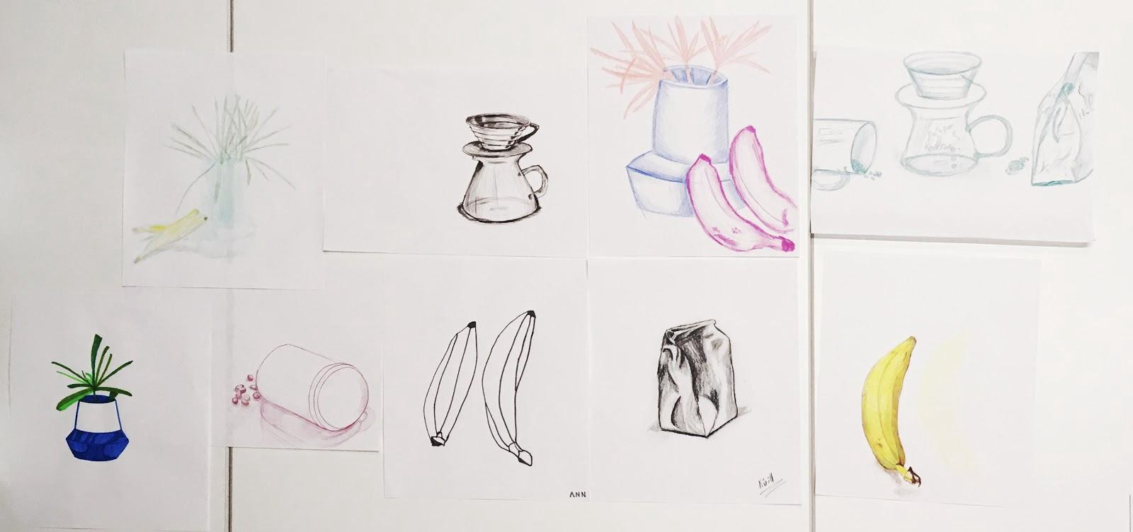 Selection of still-life sketches taped next to each other on an office whiteboard