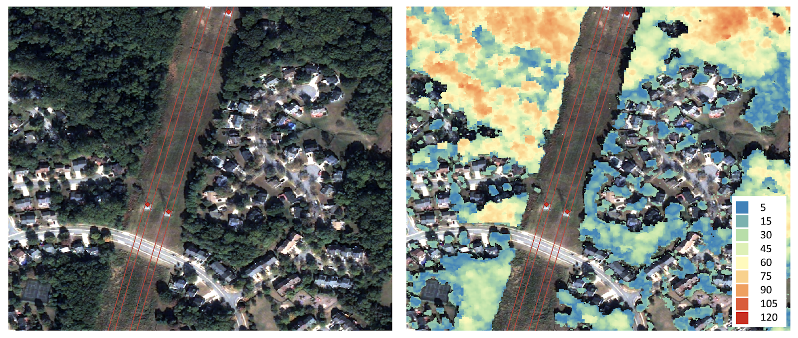 Segmentation of tree canopy and tree height (in feet)