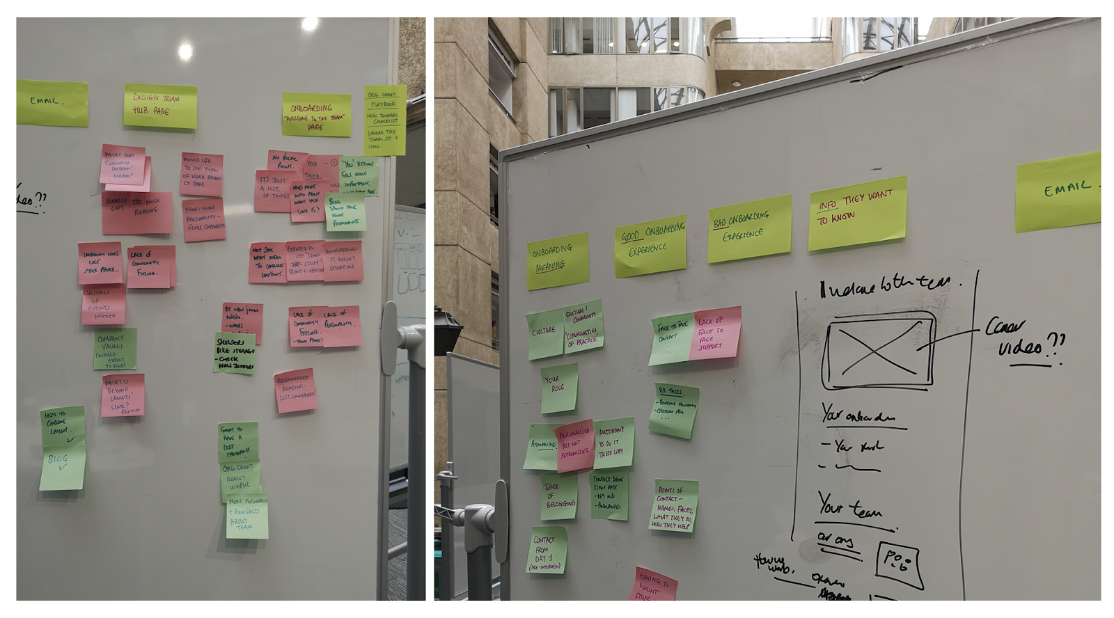 An image of a whiteboard containing post-it notes listing what makes a good or bad onboarding experience.
