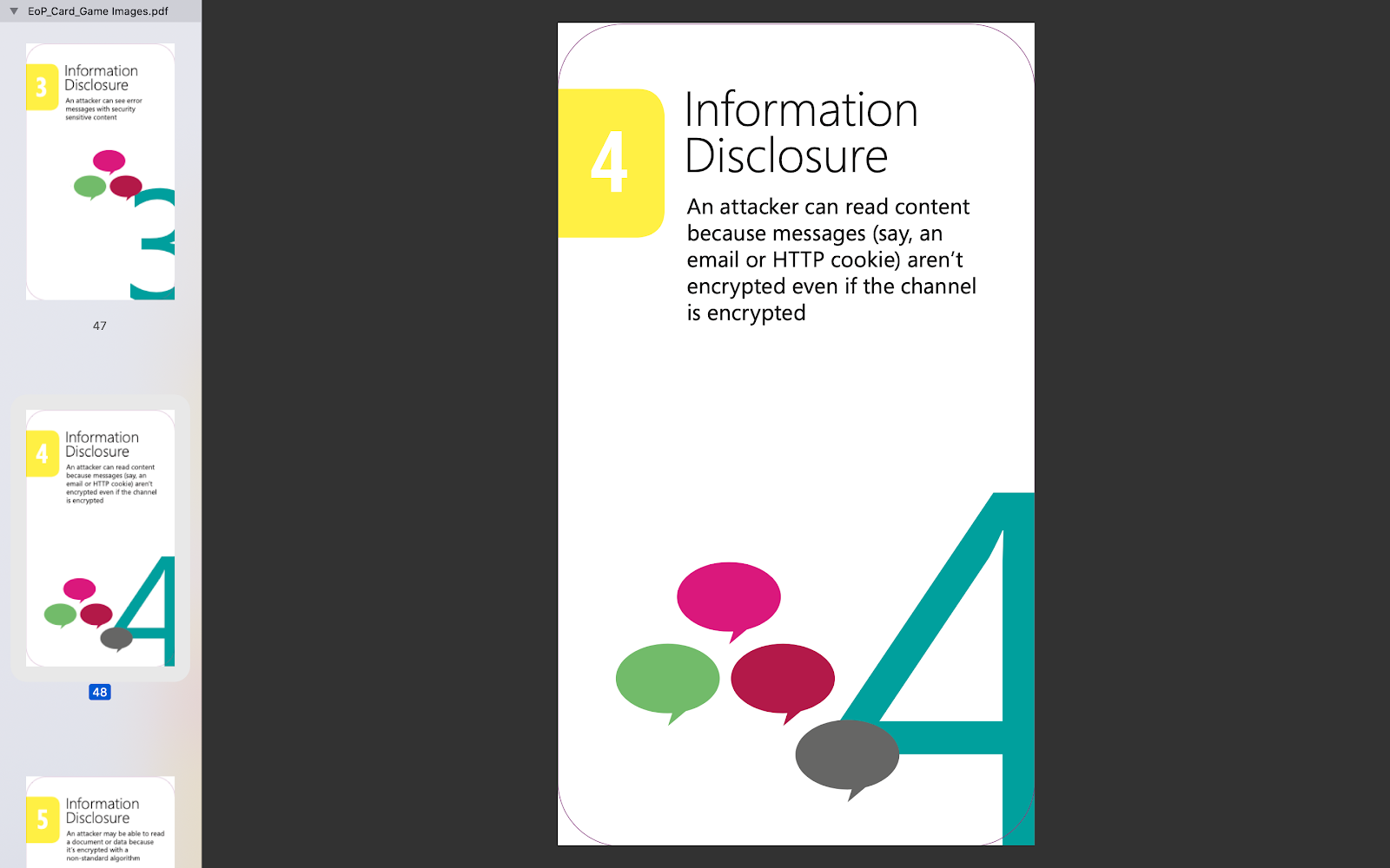 Example card played in the game. This one is about information disclosure.