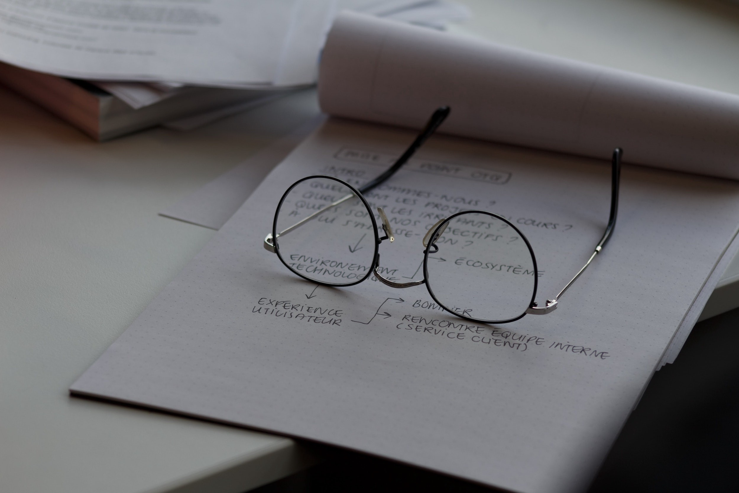 Glasses on notebook with student's notes