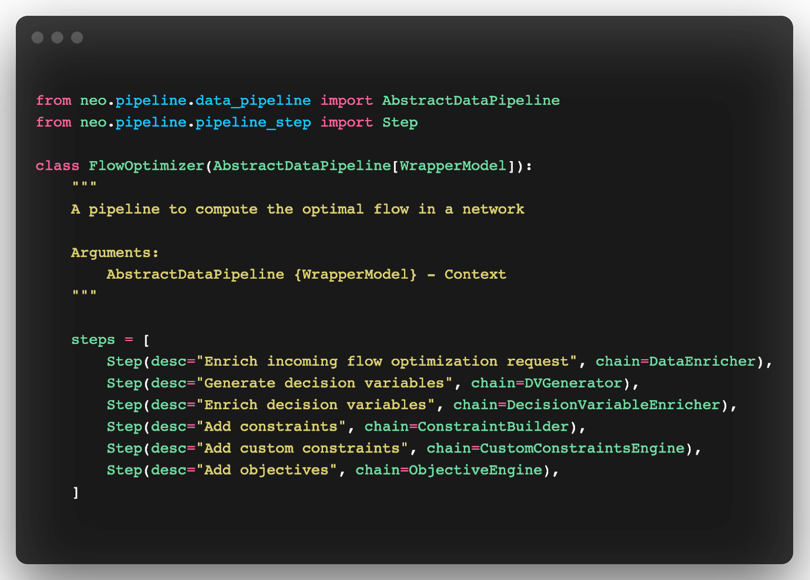 implementation of the workflow using the pipeline abstraction module