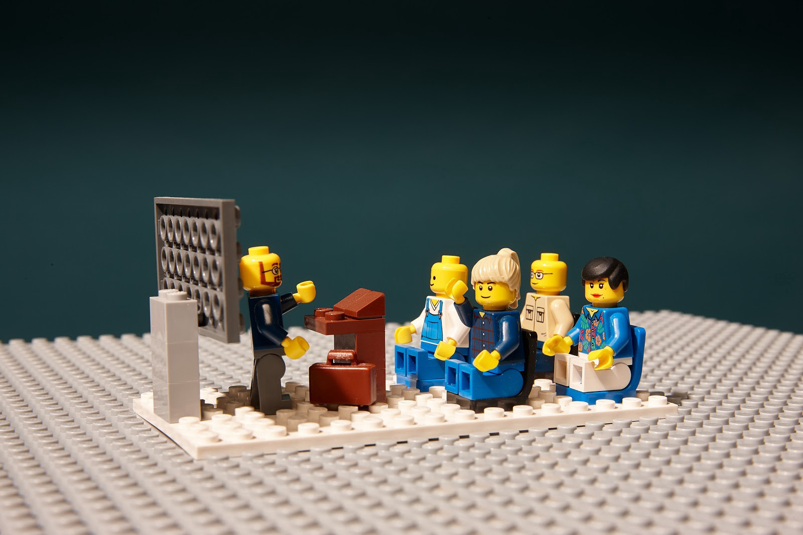 Lego people in a classroom