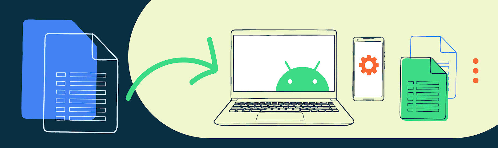 Illustration of a laptop with the Android on the screen and other tech objects in the background.