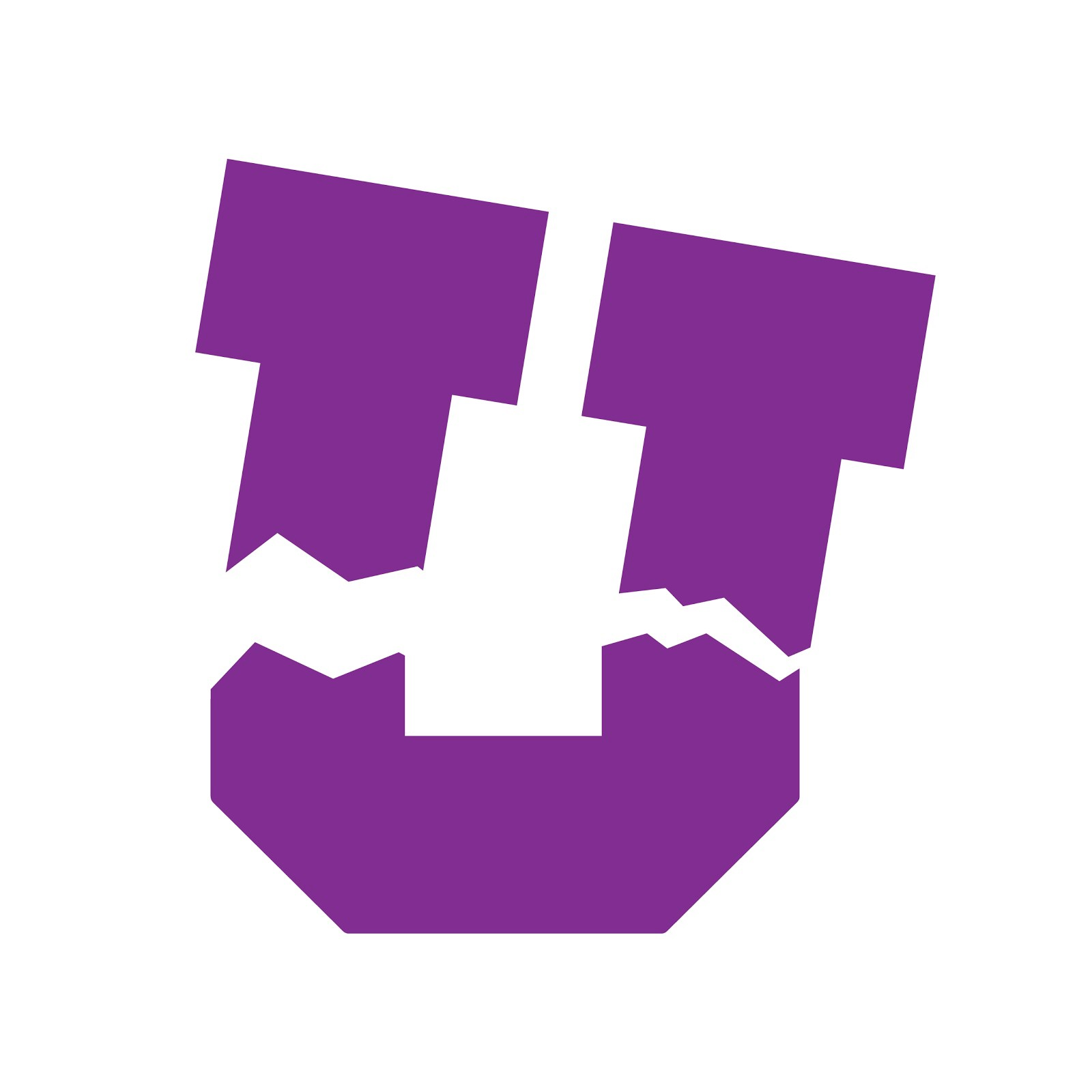 the Broke U logo (a satirical edit of the block u logo: color changed to purple, broken at the stems)