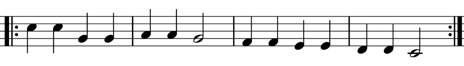 An excerpt of music surrounded by repeat signs