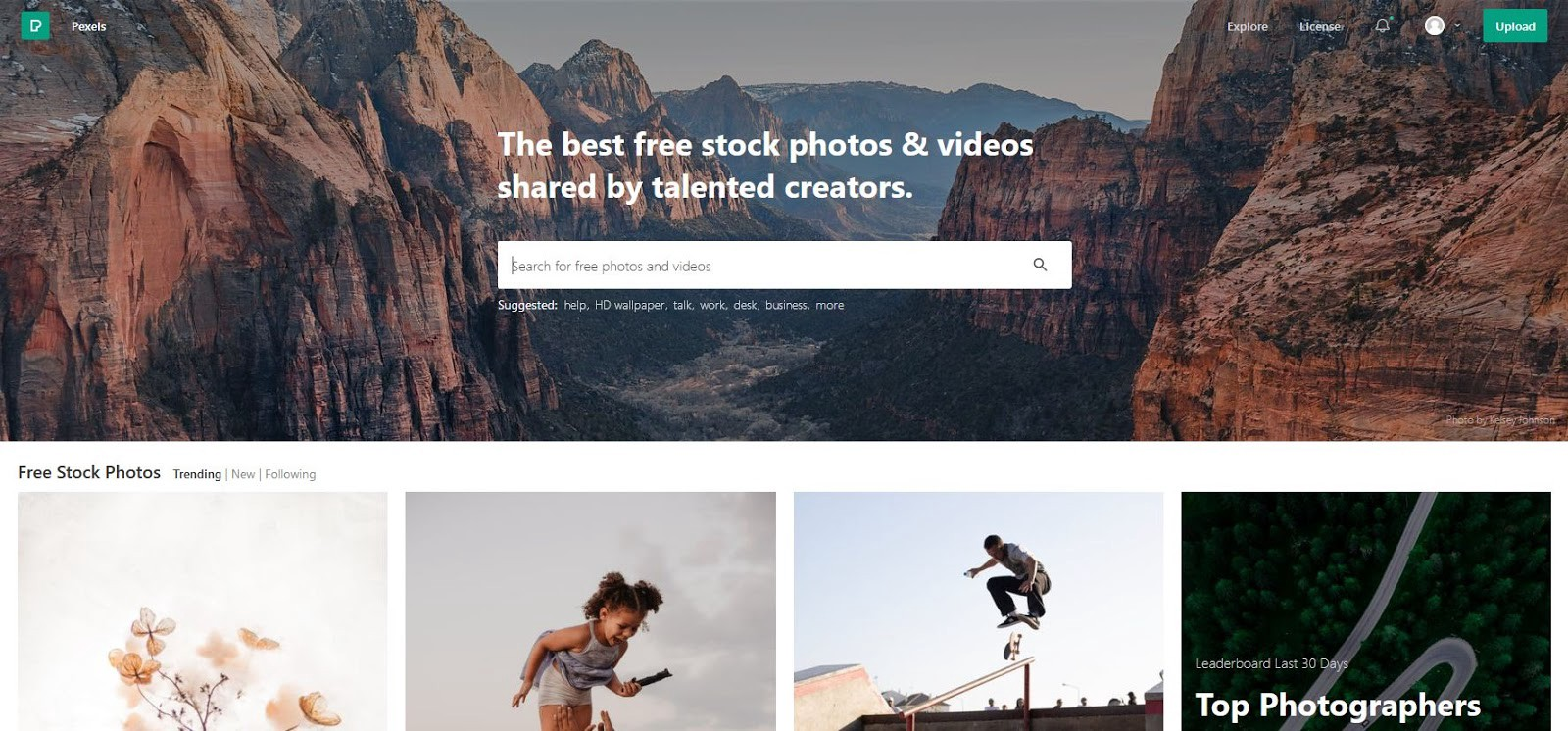 A screen shot of the Pexels homepage shows a gallery of stock photos and a search bar you can use to browse stock photos