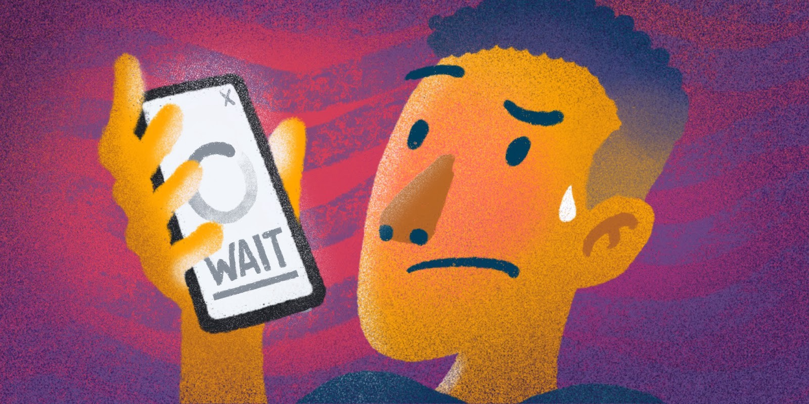 """An image of someone frustrated using a mobile devices that says """"wait."""""""