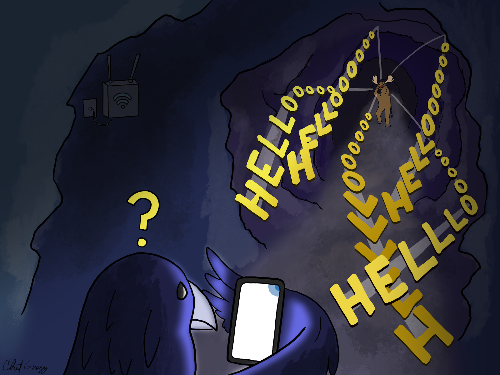 "Moose and Raven are using Live Transcribe in a cave. Moose is yelling ""Hello"" but the phone doesn't transcribe anything."