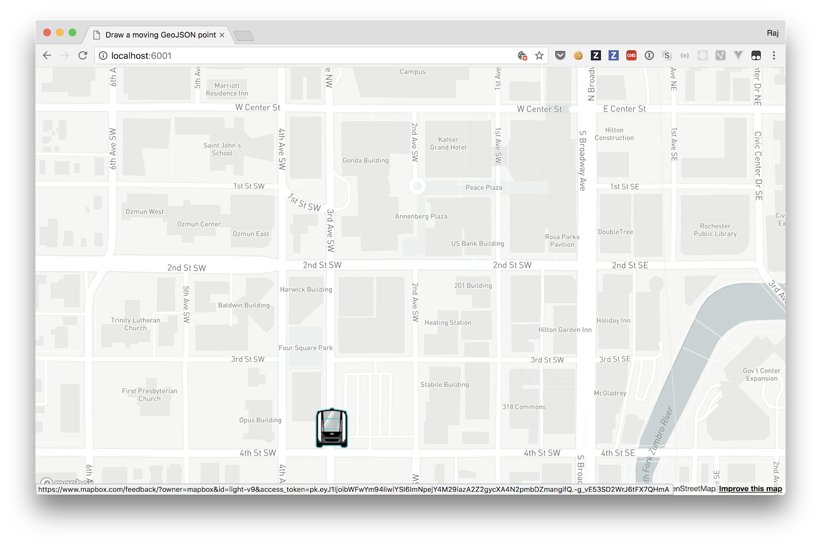 Mapping moving objects with Mapbox and a self-driving bus