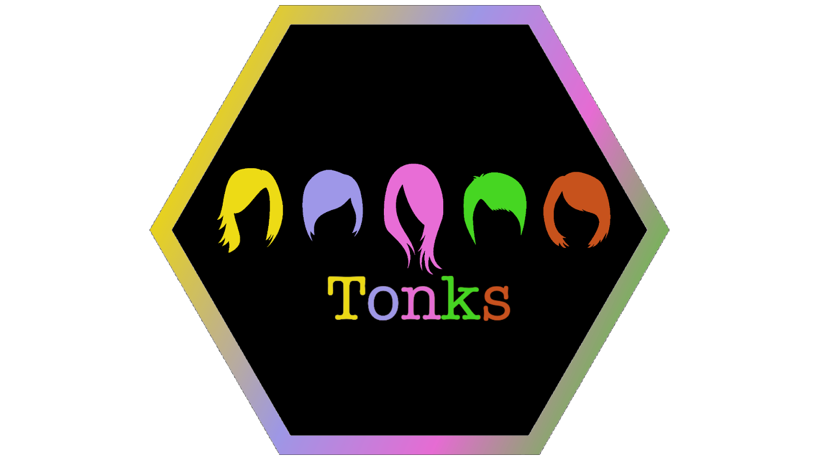 Hexagonal icon that says Tonks and has five different hairstyles pictured all in neon colors.