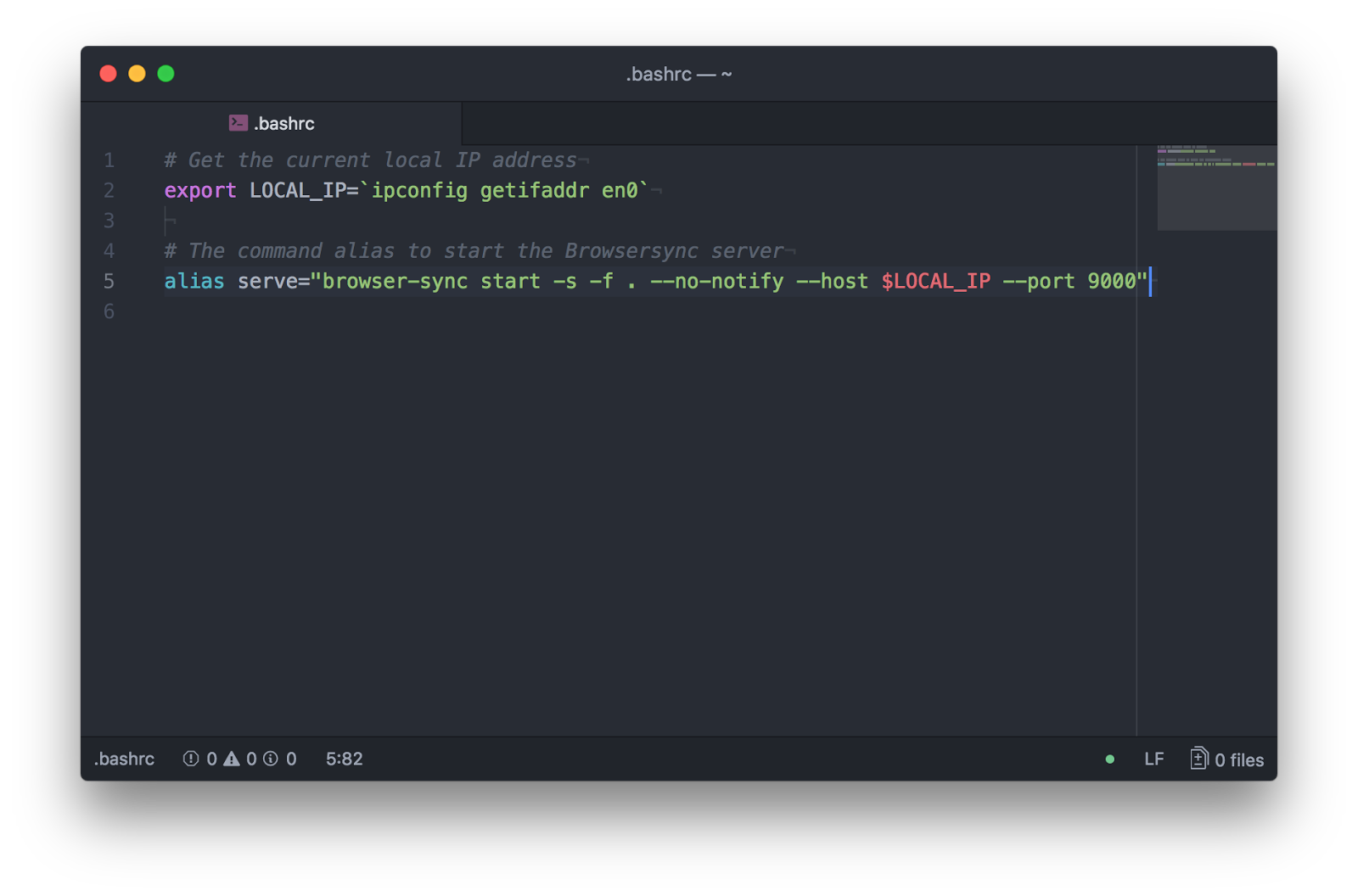 Screenshot of Atom editor, with the .bashrc file open for editing. The two lines described above are seen in place.