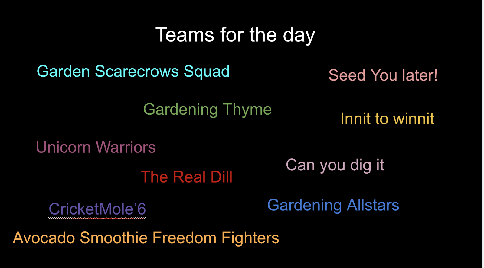 A slide that shows the names of the Gardening Day teams.