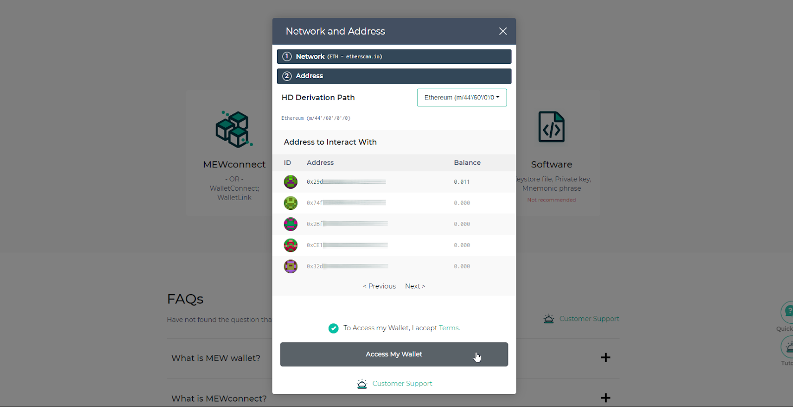 """Select ETH address to use and click """"Access My Wallet"""""""