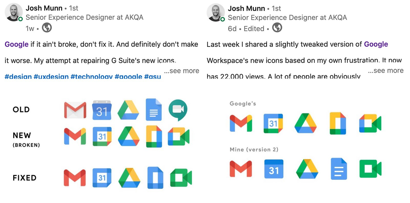 A designer, Josh Munn's, concept for how Google could better design their icons.