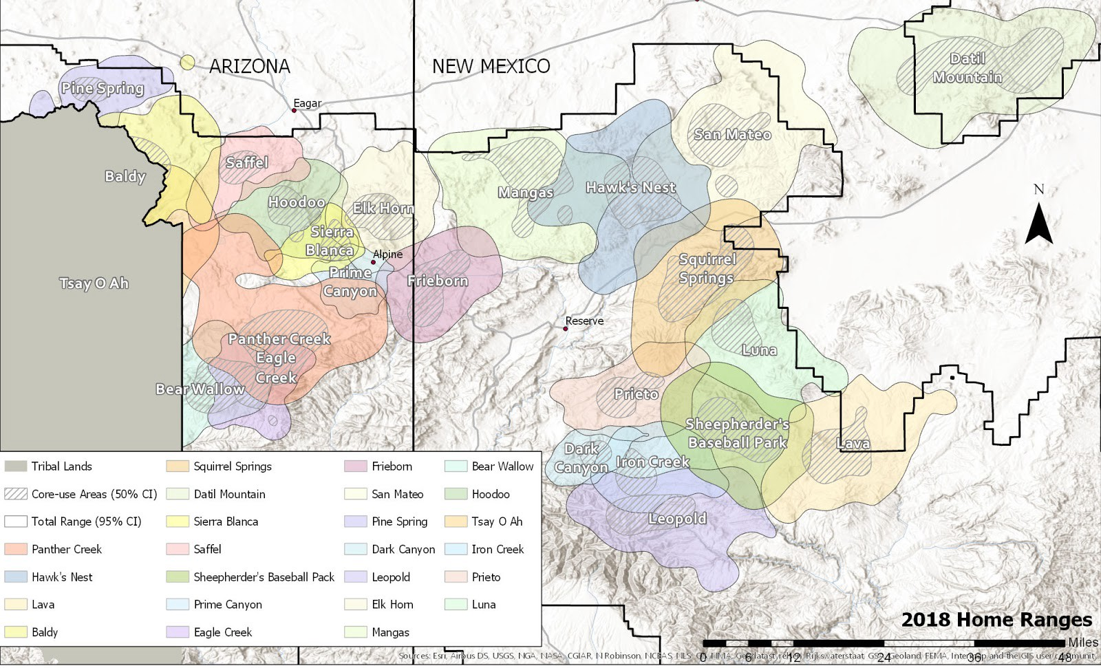 A map of northern Arizona and New Mexico showing the home ranges of known wolf packs.