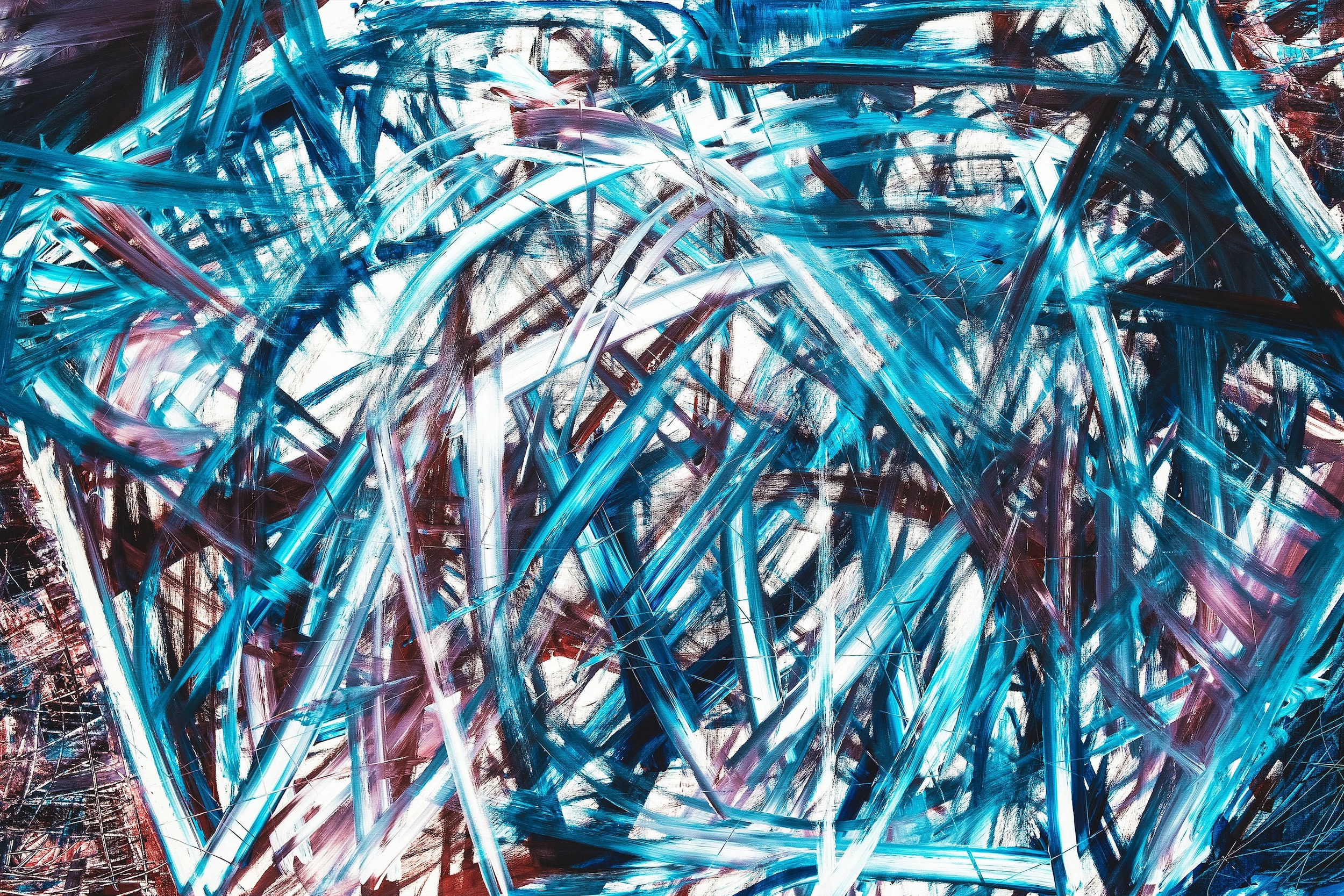 Chaotic paint strokes on canvas