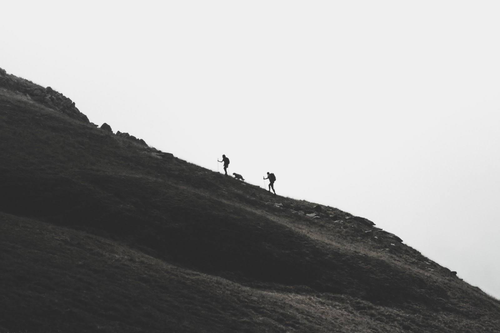 Two people and one dog climbing a steep mountain