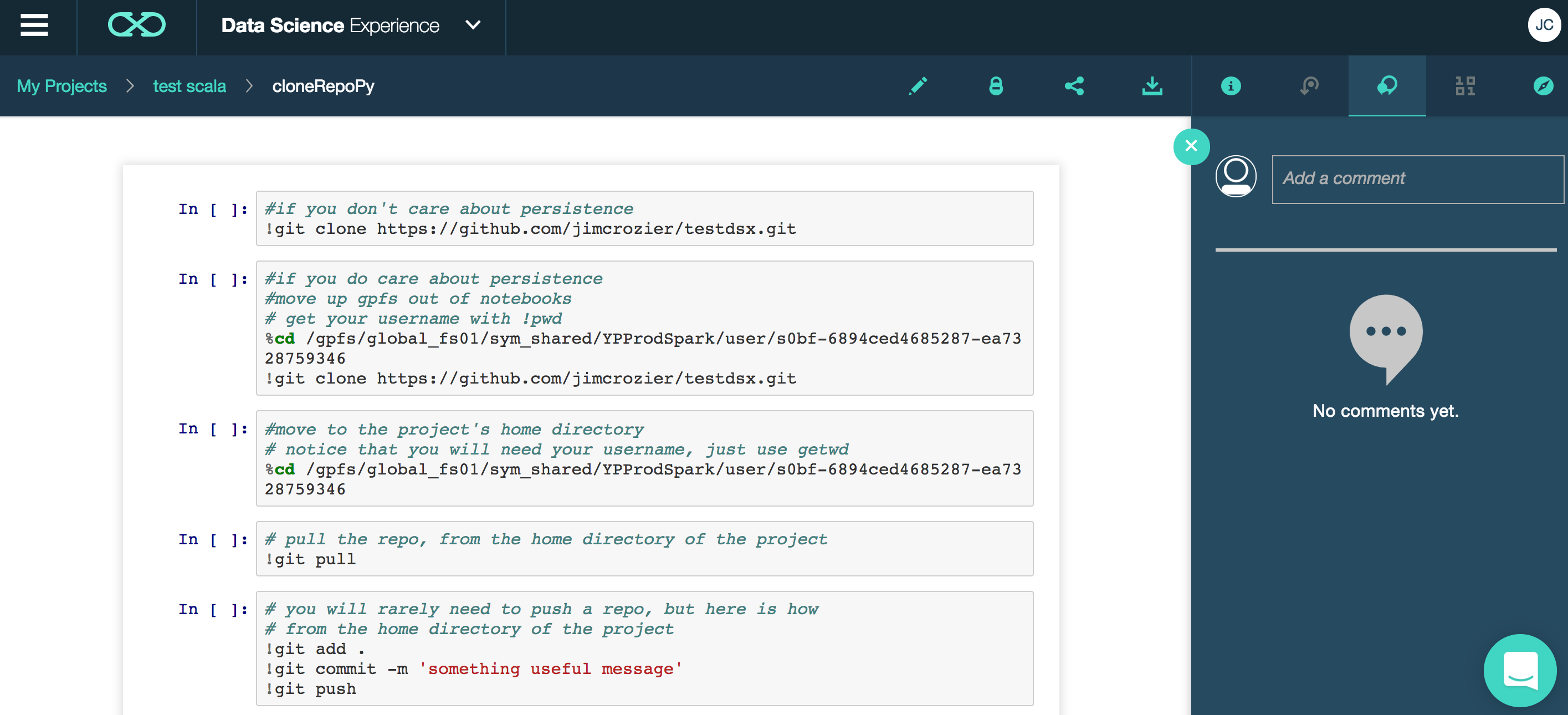 Using GitHub for project control in DSX - IBM Watson Data