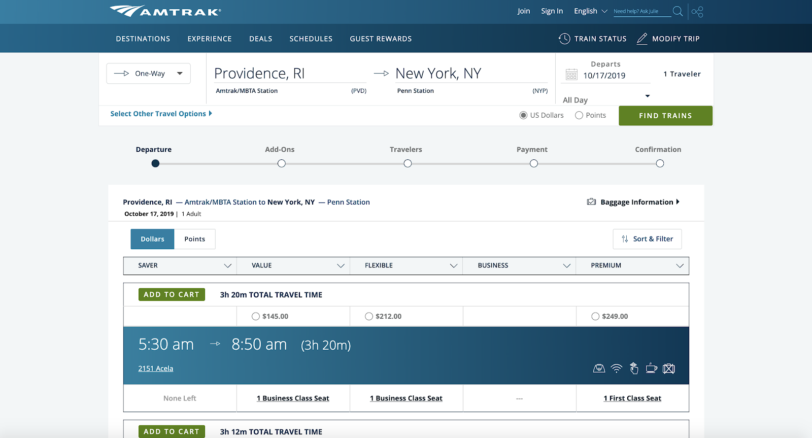 If Amtrak's website got upgraded to First Class - Madison
