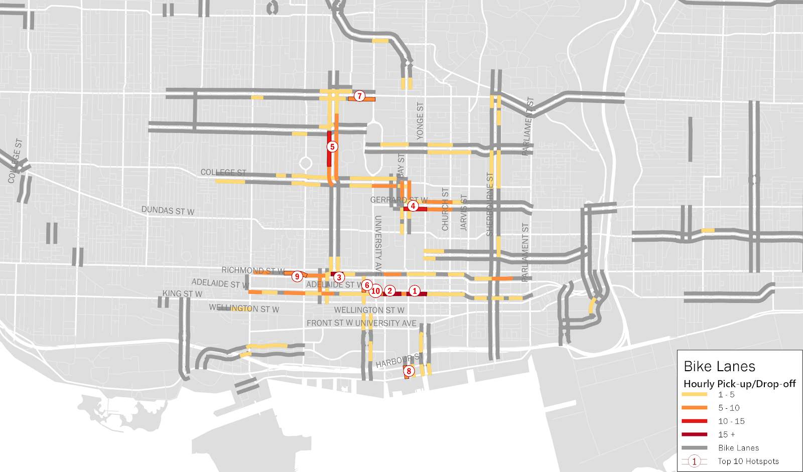 A map of Downtown Toronto with bike lanes in darker grey and significant PUDO activity near bike lanes highlighted.