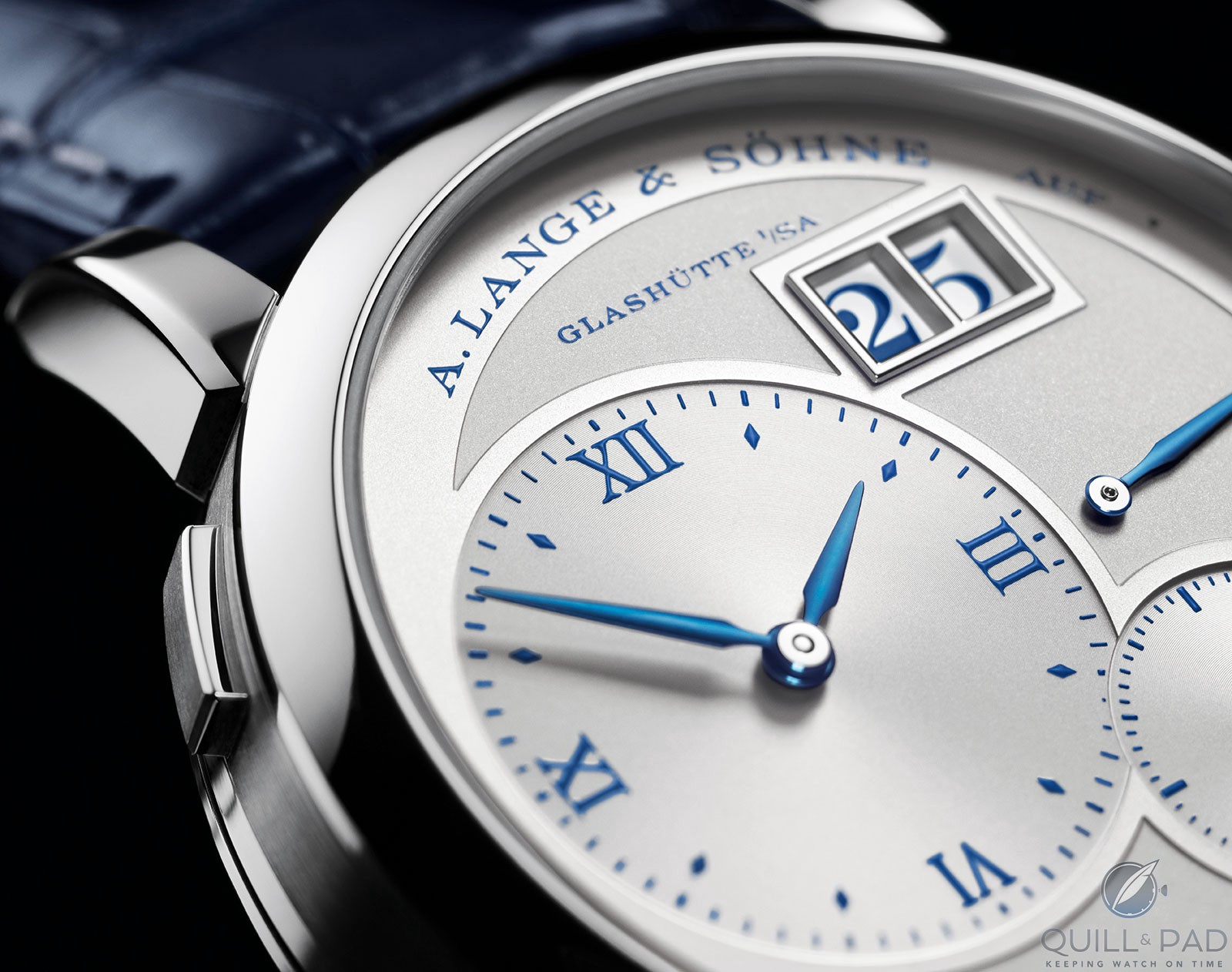 Close up look at the dial of the A. Lange & Söhne Lange 1 25th Anniversary Edition