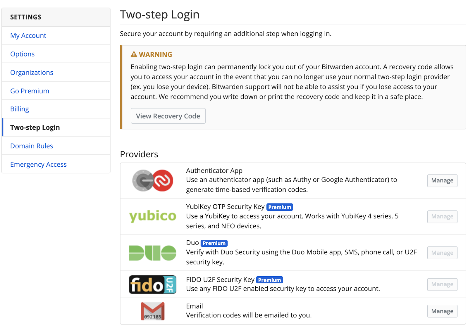 Screenshot of Bitwarden's two-step login settings page, including multiple options for authentication tools.