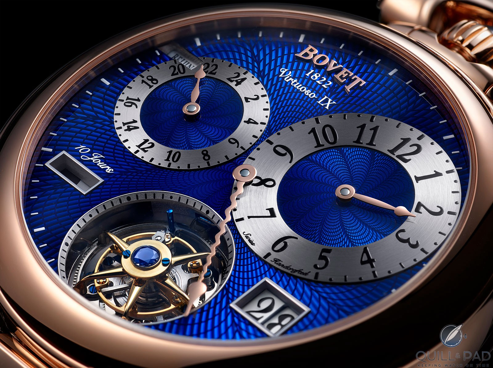 Close look at the blue enamel over guilloche dial of the Bovet Virtuoso IX