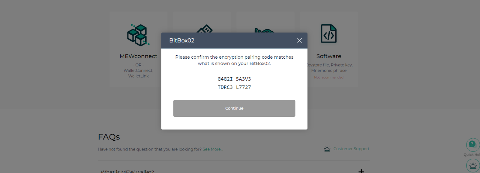 Confirm pairing code matches what is displayed on the BitBox02
