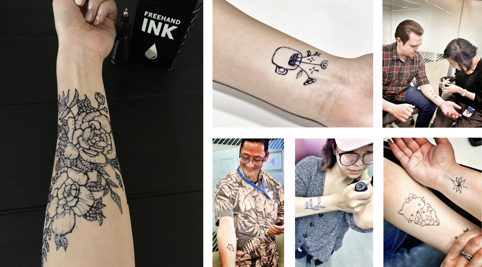 Montage of people in a conference room applying and showing off temporary tattoos