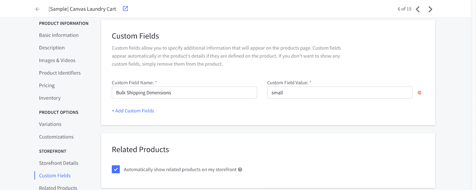 Screenshot of the product edit page on BigCommerce, a custom field matching the code has been added.