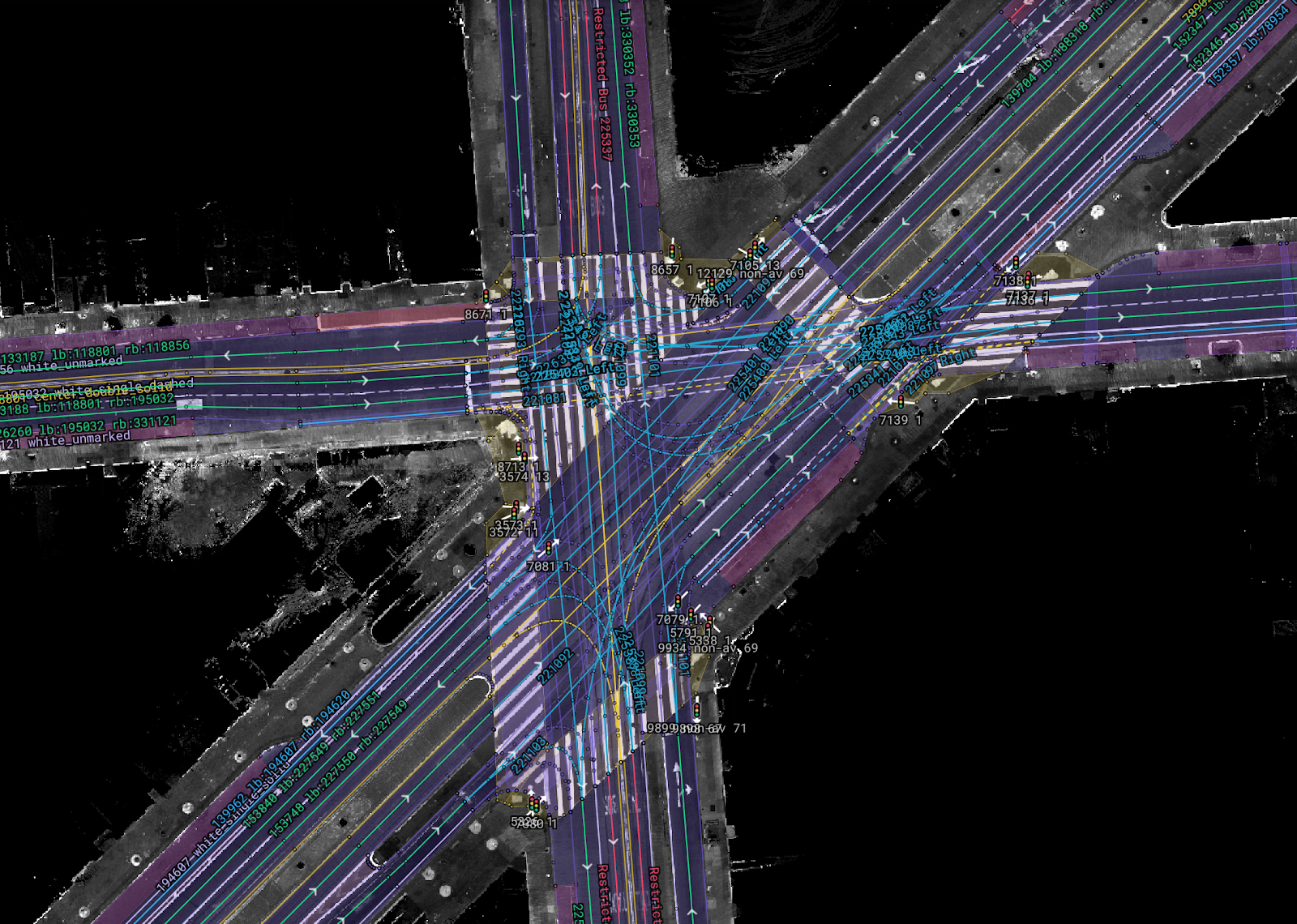 Semantic map labels at a Market Street intersection in San Francisco, created with Cruise's mapping tool, Cartographer