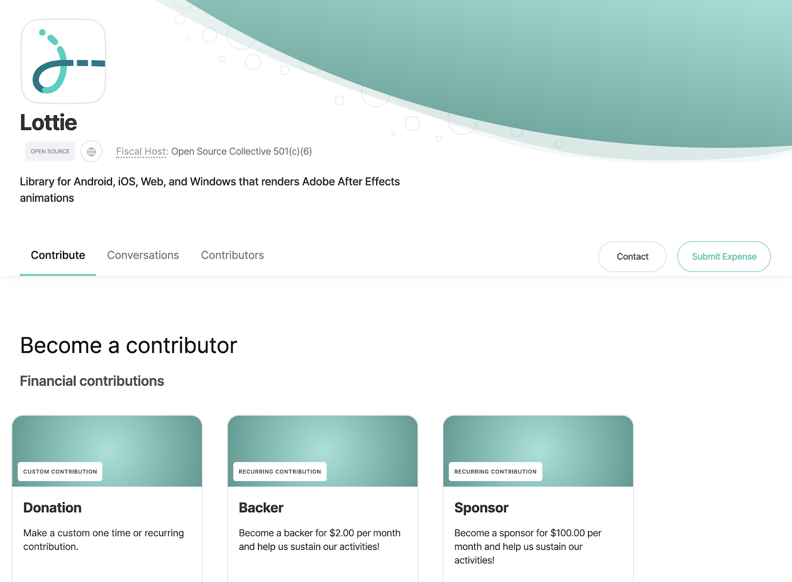 Screenshot of the Lottie Open Collective page