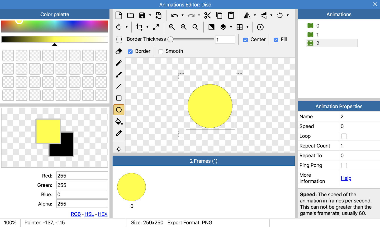 Three animations for our disc: white, red and yellow.
