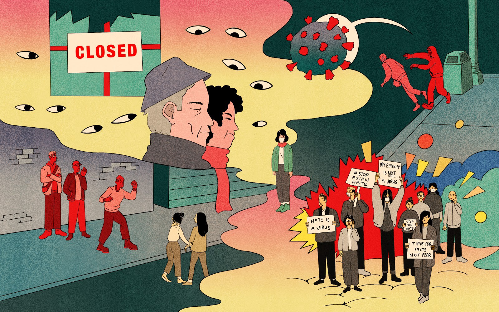 Illustration showing Asian Americans protesting, covid virus, anti-Asian hate on the streets, small businesses closing, portraying a tumultuous 2020.