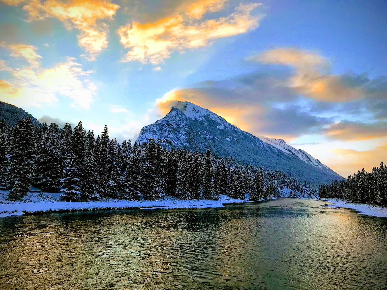 A mountain in Banff after sunrise