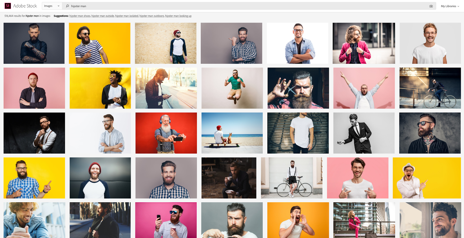 Adobe Stock image search with new ranking methodology.