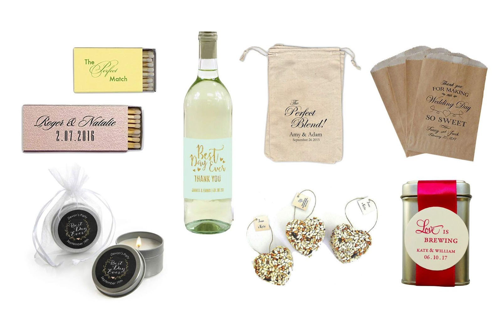 Examples of wedding favors