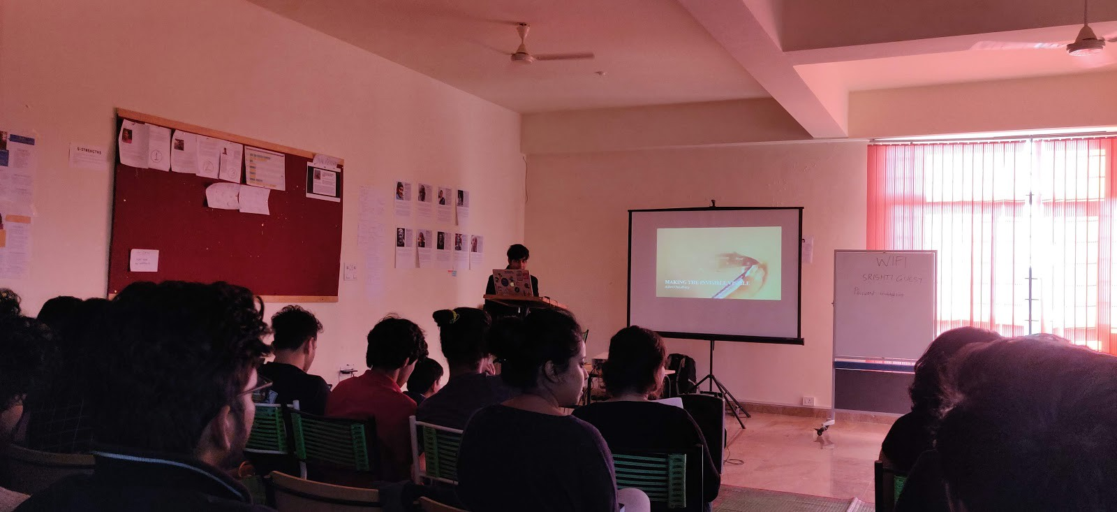"""Ashris Choudhury presenting his talk """"Networks—making the invisible visible with p5js"""""""