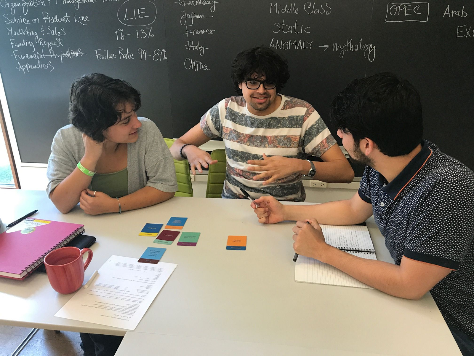 Image from past workshop: three students in conversation with cards on table.