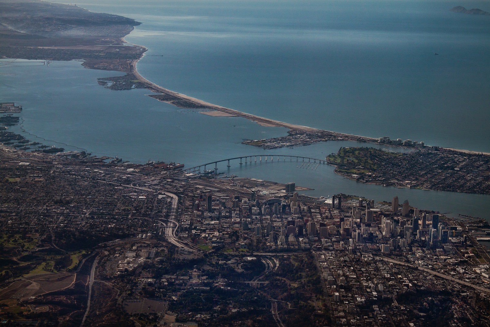 Aerial image of San Diego companies and the local infrastructure