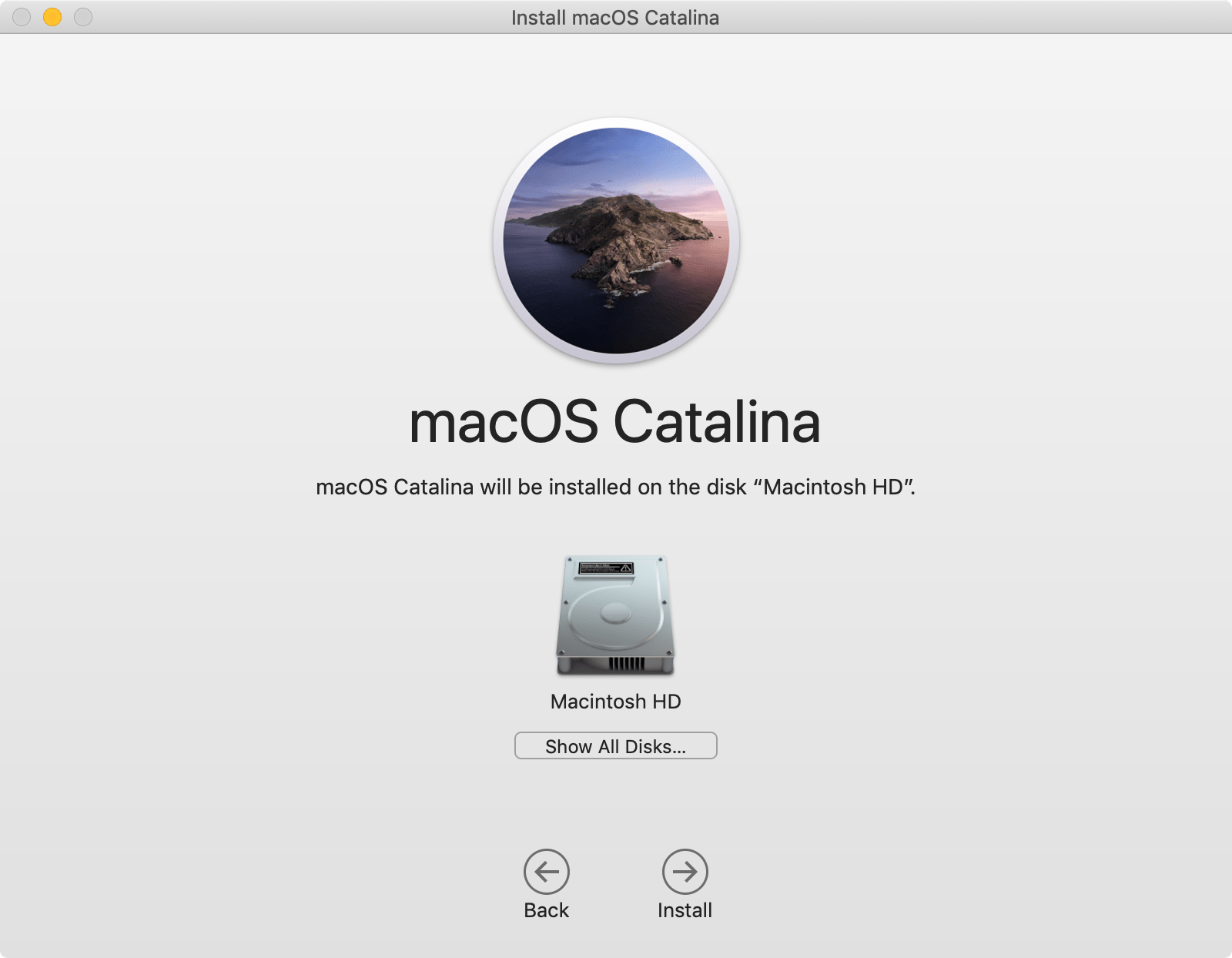 macOS installation: click 'Show All Disks…' so you can select the bootable USB drive.