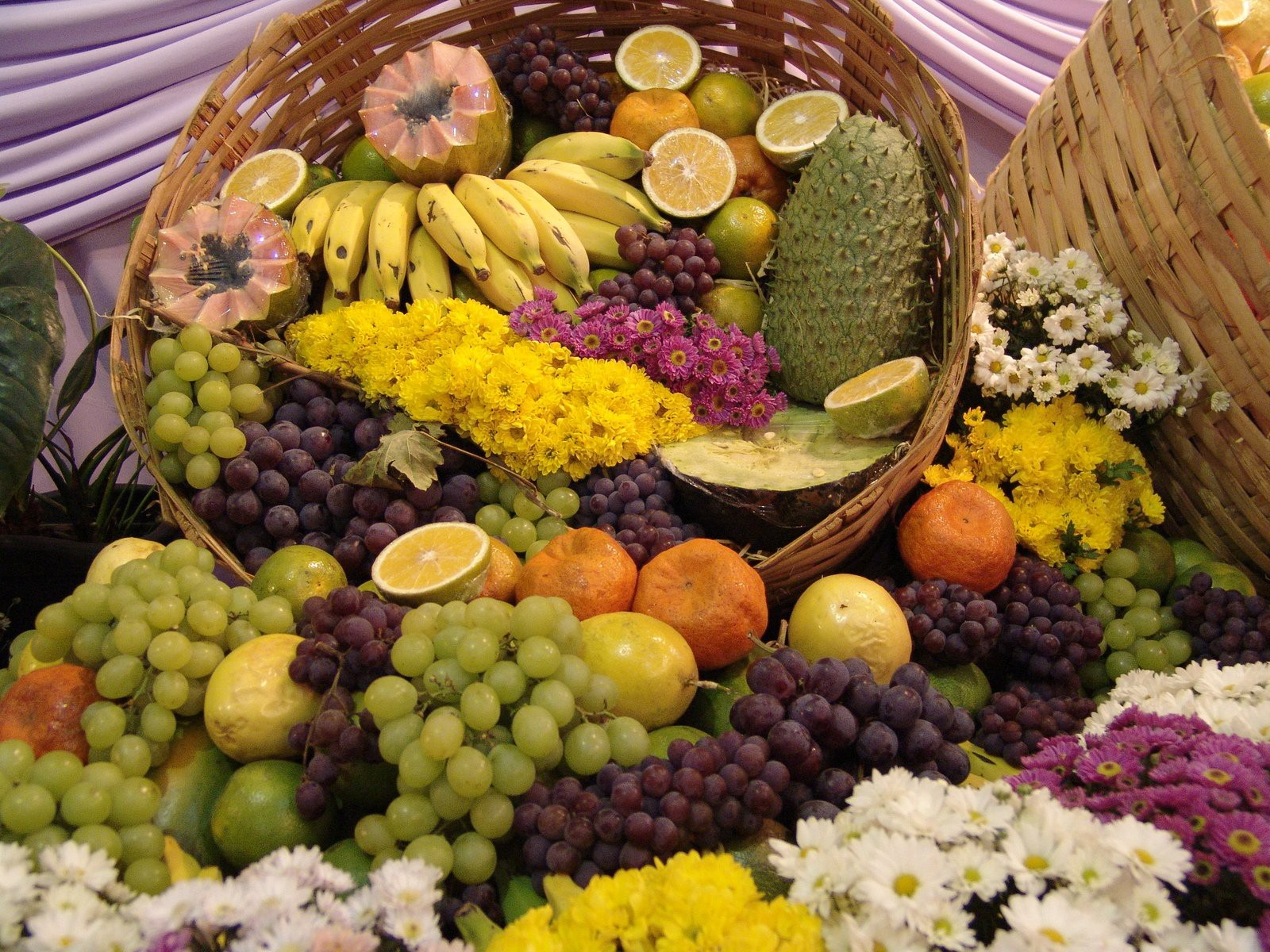 A table and basket full of fruit