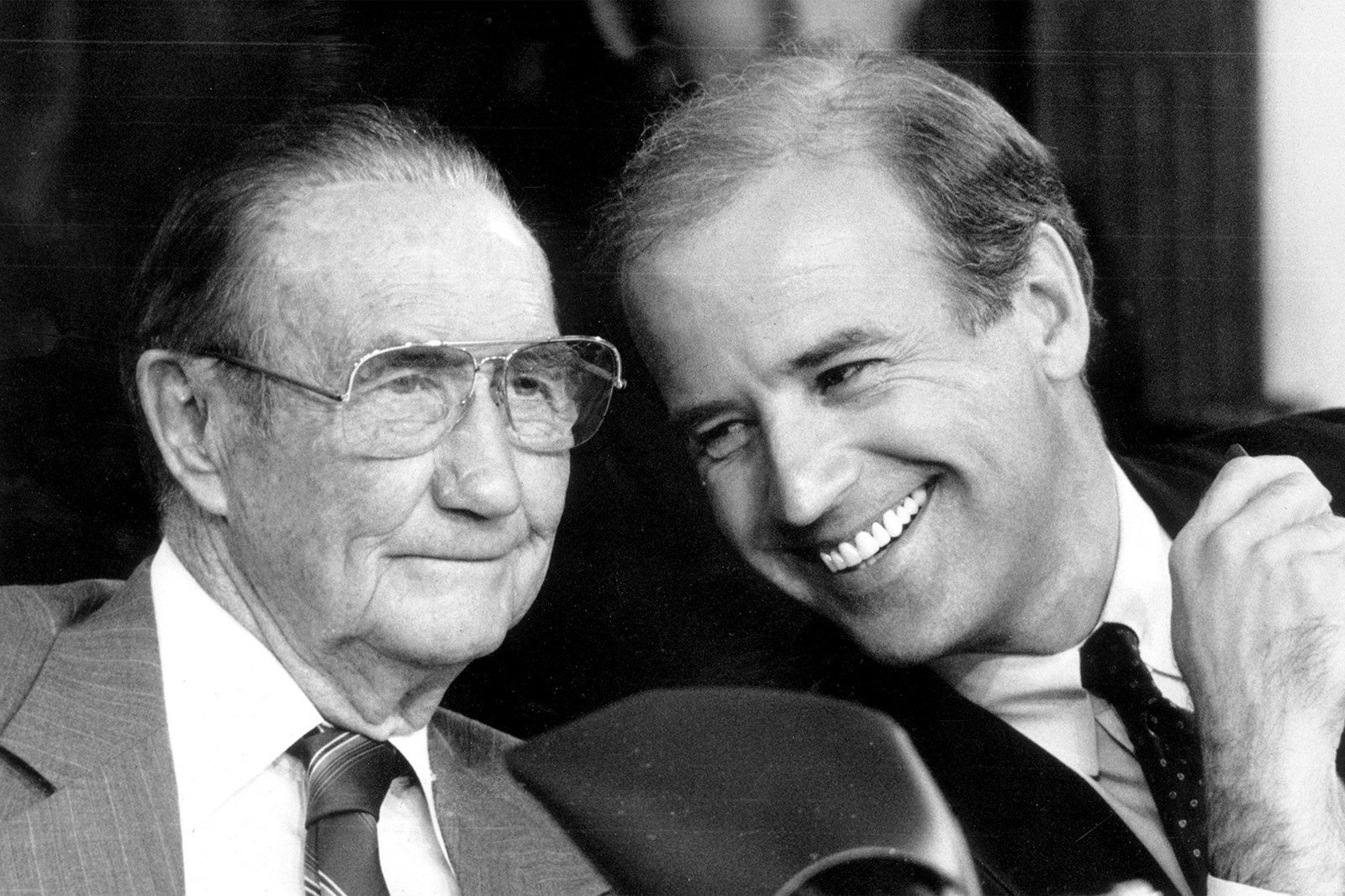 Joe Biden pointing at Supreme Court Justice nominee Clarence Thomas during the sexual harassment hearings (1991).