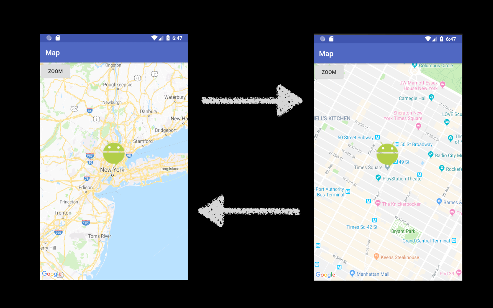 Android Google Maps Simple Usage — Custom Marker and Zoom