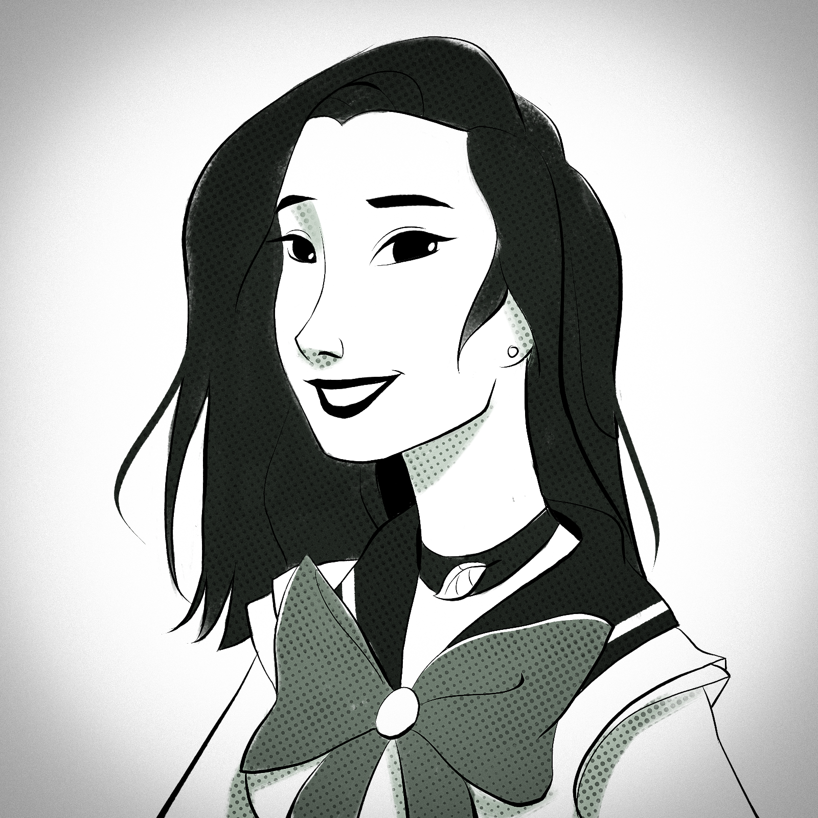 An illustration of Yuzhi Zheng in a sailor uniform reminiscent of Sailor Moon.