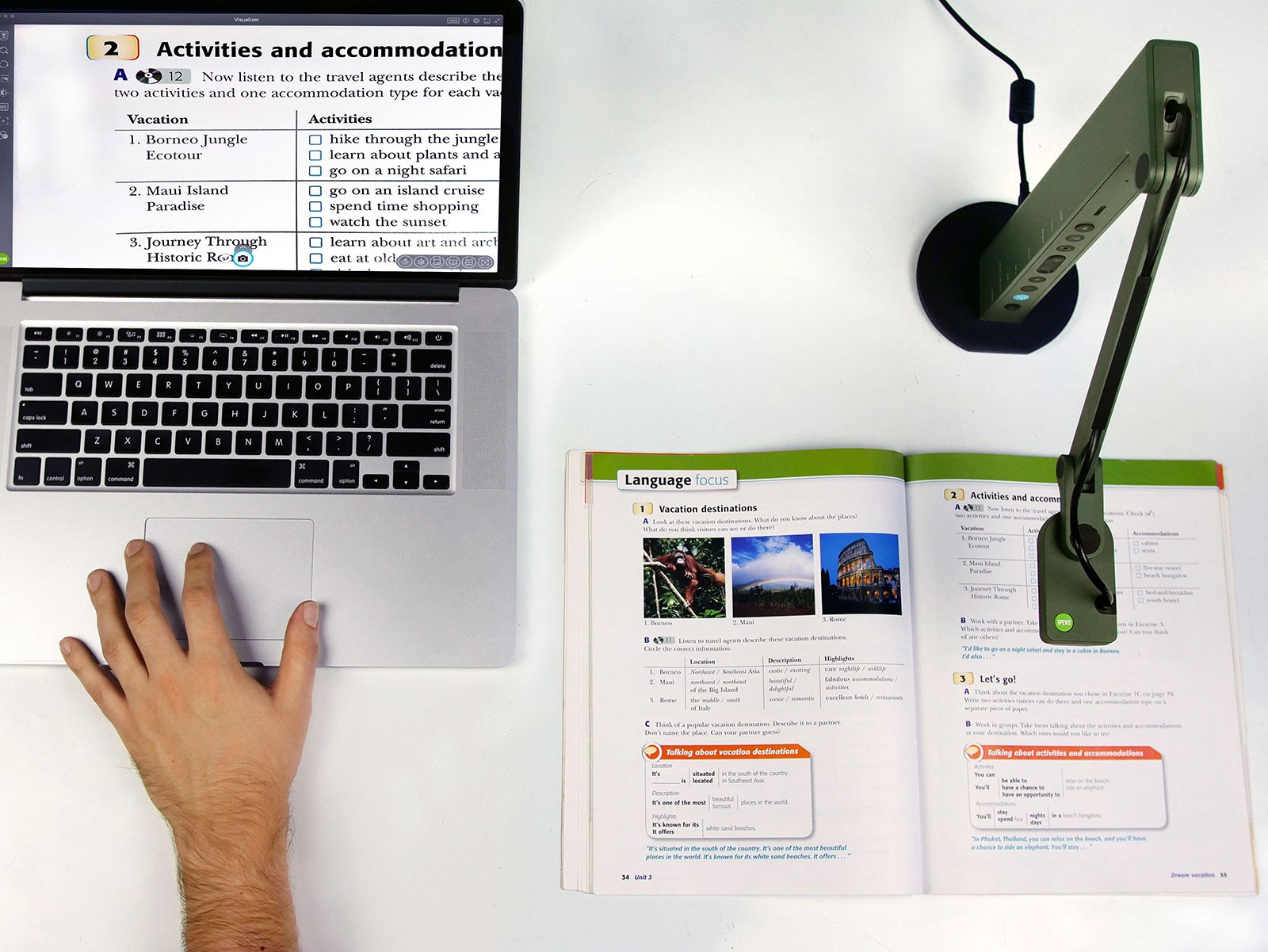Displaying instructions for an activity for all to see with an IPEVO VZ-R document camera.