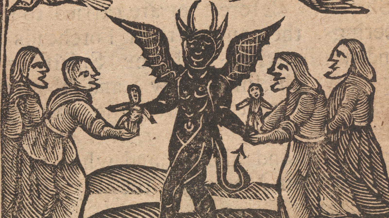 Woodcut of four people flanking a demon.