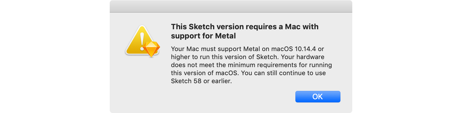 Error message displayed when you try to start Sketch in a virtual machine.
